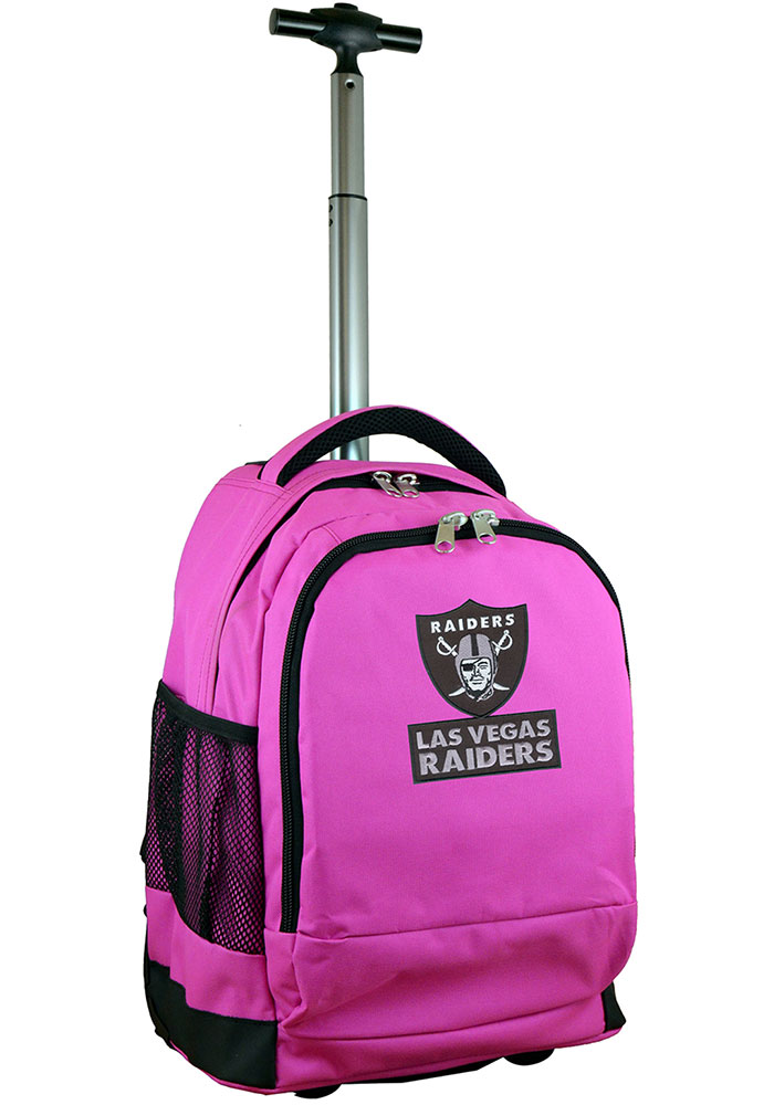 Oakland Raiders Pink Wheeled Premium Backpack - Image 1