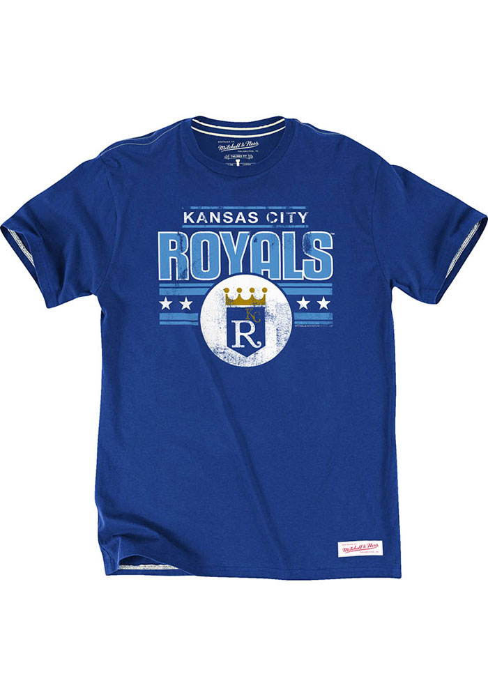 Mitchell and Ness Kansas City Royals Blue Vintage Crown Short Sleeve Fashion T Shirt - Image 1