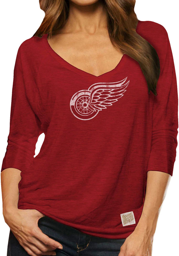 Original Retro Brand Detroit Red Wings Womens Red 3/4 Viscose Long Sleeve Women's V-Neck - Image 1