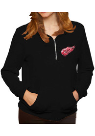 Original Retro Brand Detroit Red Wings Womens Triblend Black 1/4 Zip Pullover