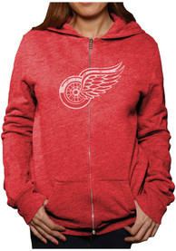 Original Retro Brand Detroit Red Wings Womens Red Triblend Full Zip Jacket