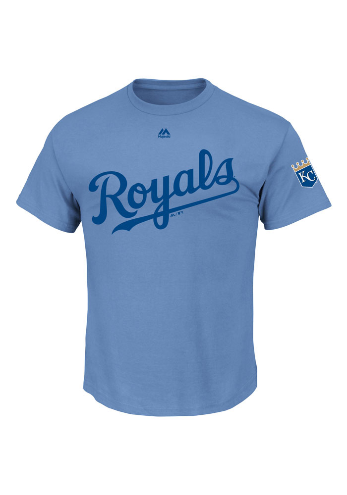 Majestic Kansas City Royals Blue Wordmark with Crown Logo Short Sleeve T Shirt - Image 1
