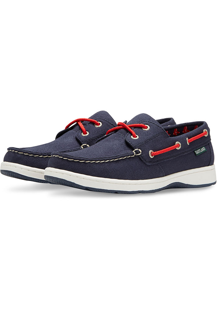 Boston Red Sox Navy Blue Solstice Canvas Boat Womens Shoes - Image 1