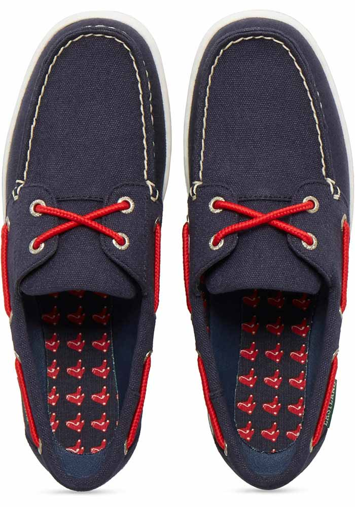 Boston Red Sox Navy Blue Solstice Canvas Boat Womens Shoes - Image 6