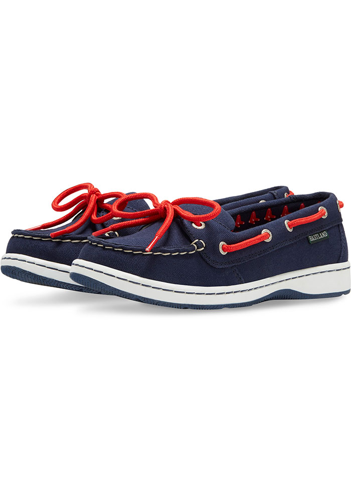 Boston Red Sox Navy Blue Sunset Canvas Boat Womens Shoes - Image 1
