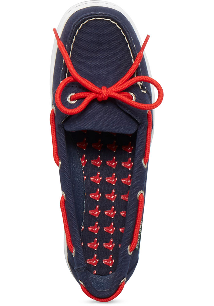 Boston Red Sox Navy Blue Sunset Canvas Boat Womens Shoes - Image 2