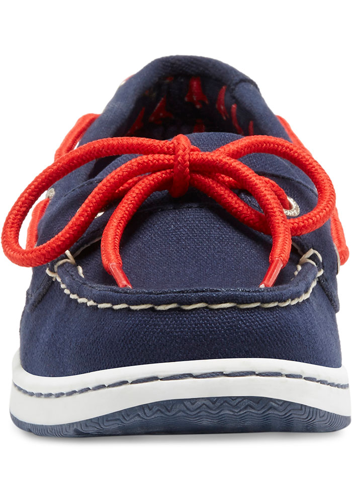 Boston Red Sox Navy Blue Sunset Canvas Boat Womens Shoes - Image 4