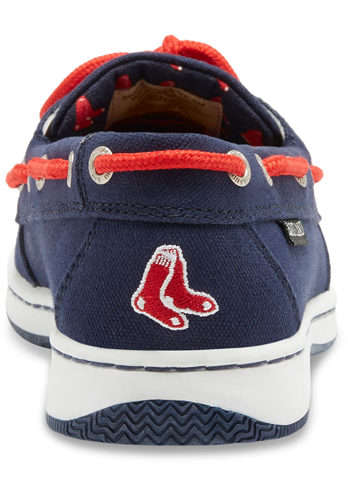 Boston Red Sox Navy Blue Sunset Canvas Boat Womens Shoes - Image 5