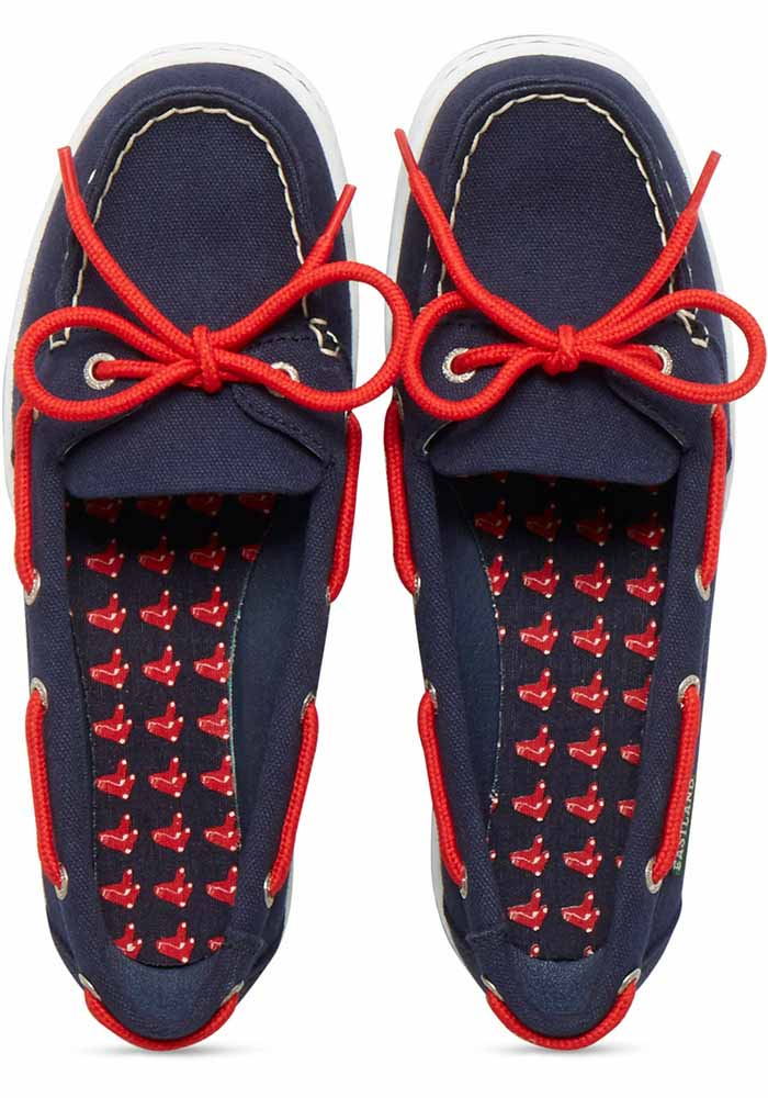 Boston Red Sox Navy Blue Sunset Canvas Boat Womens Shoes - Image 6