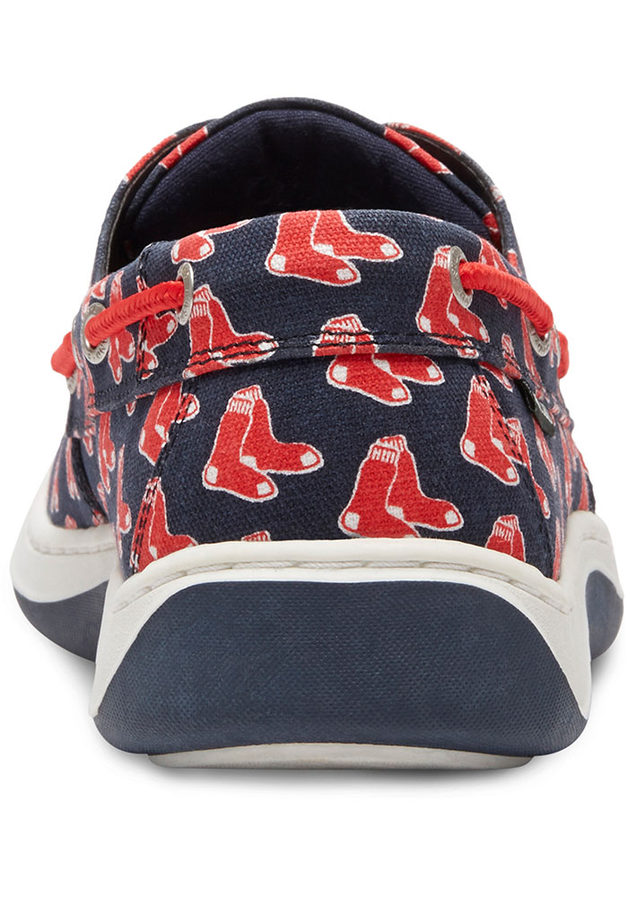 Boston Red Sox Navy Blue Summer Canvas Boat Mens Shoes - Image 3