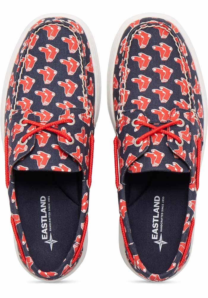 Boston Red Sox Navy Blue Summer Canvas Boat Mens Shoes - Image 4