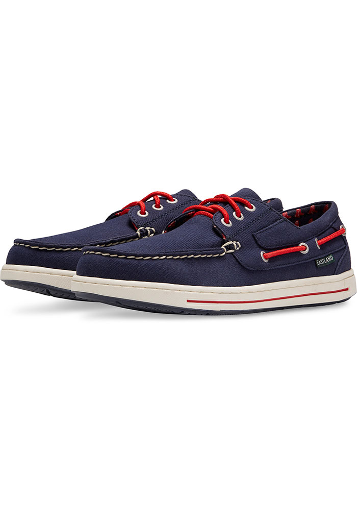 Boston Red Sox Navy Blue Adventure Canvas Boat Mens Shoes - Image 1