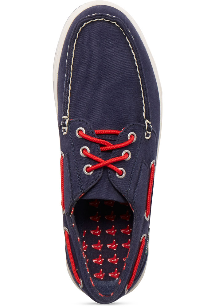 Boston Red Sox Navy Blue Adventure Canvas Boat Mens Shoes - Image 2