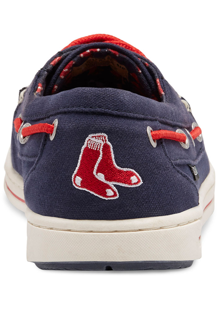 Boston Red Sox Navy Blue Adventure Canvas Boat Mens Shoes - Image 5