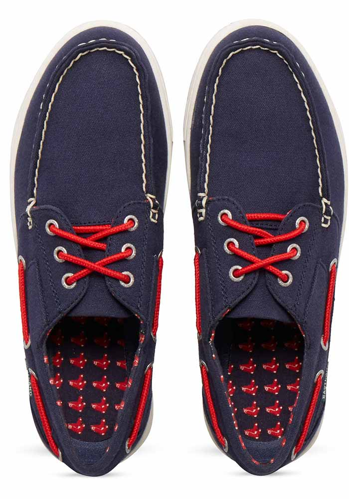 Boston Red Sox Navy Blue Adventure Canvas Boat Mens Shoes - Image 6