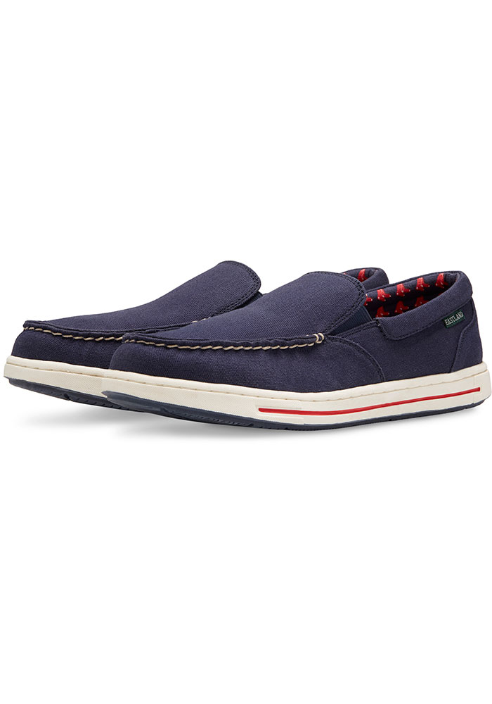 Boston Red Sox Navy Blue Surf Canvas Boat Mens Shoes - Image 1