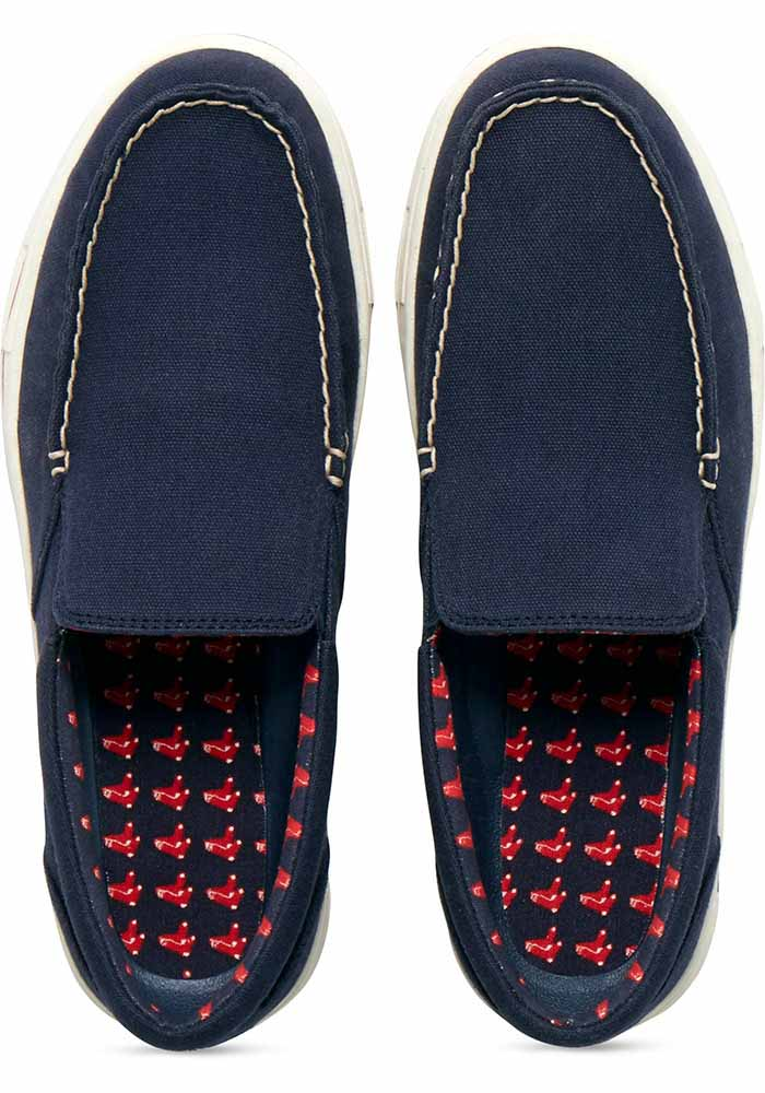 Boston Red Sox Navy Blue Surf Canvas Boat Mens Shoes - Image 6
