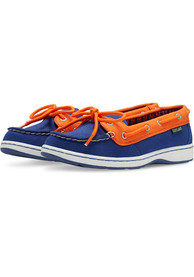 New York Mets Womens Sunset Canvas Boat Shoes - Blue
