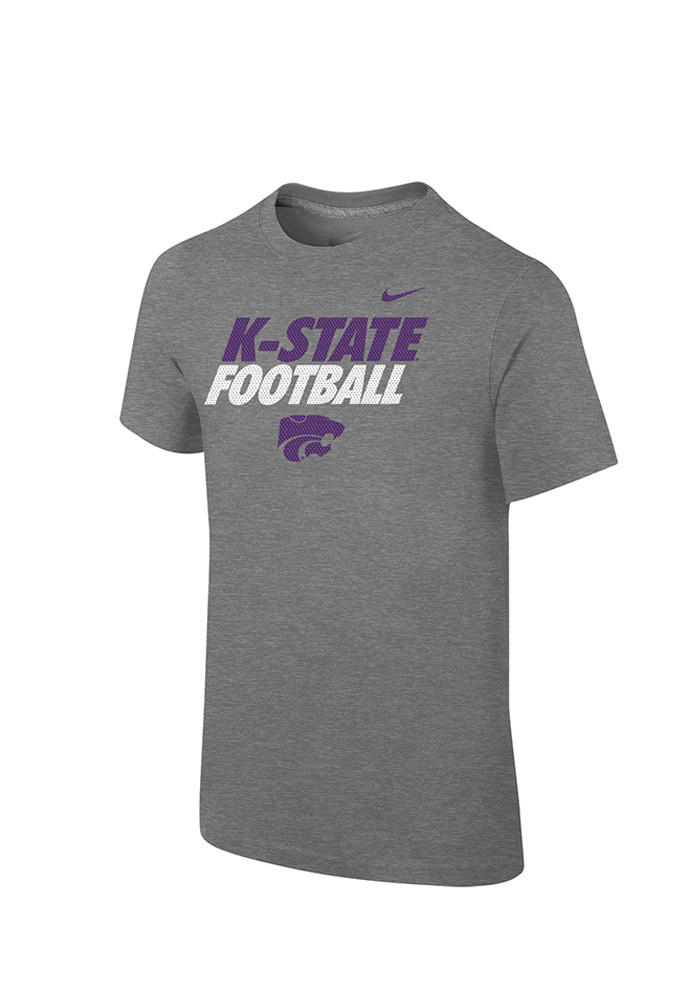 Nike K-State Wildcats Youth Grey Practice Short Sleeve T-Shirt - Image 1