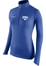 Nike SMU Mustangs Womens Tailgate Element Blue 1/4 Zip Pullover