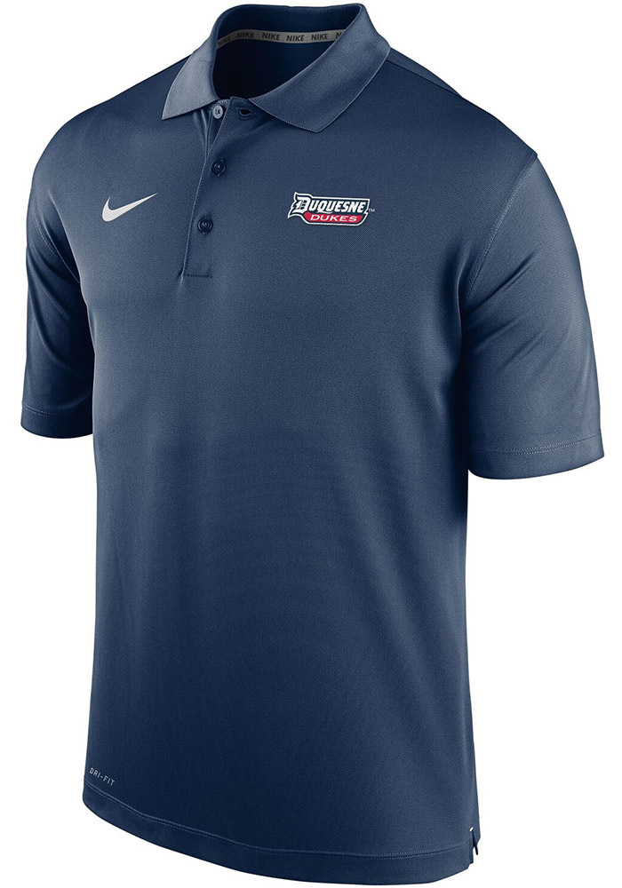 Nike Duquesne Dukes Mens Navy Blue Varsity Short Sleeve Polo - Image 1