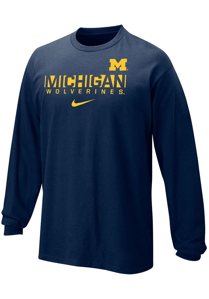 Nike michigan wolverines youth navy blue core long sleeve for Navy blue and white nike shirt