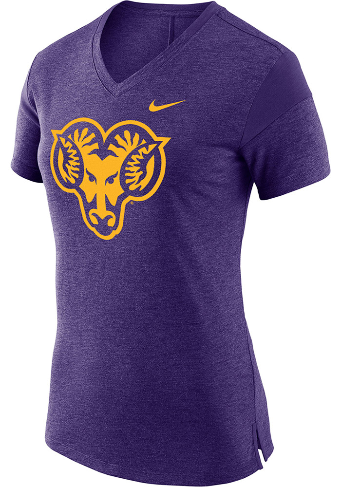Nike West Chester Golden Rams Womens Purple Fan V-Neck T-Shirt, Purple, 50% POLYESTER/50% MODAL, Size M