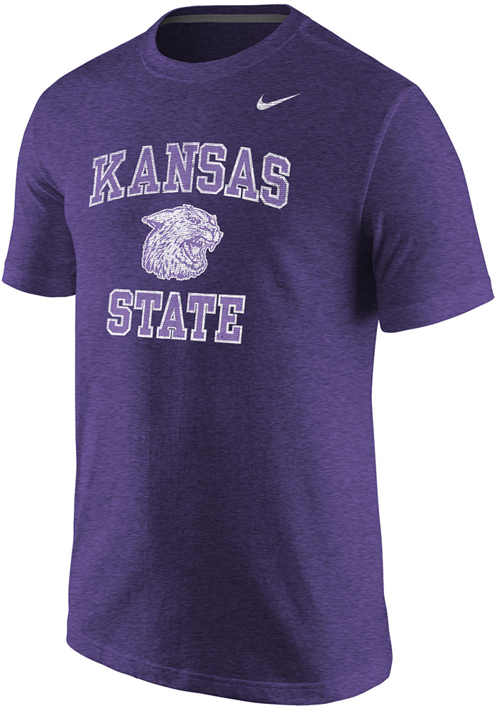 Nike K-State Wildcats Purple Throwback Short Sleeve T Shirt - Image 1