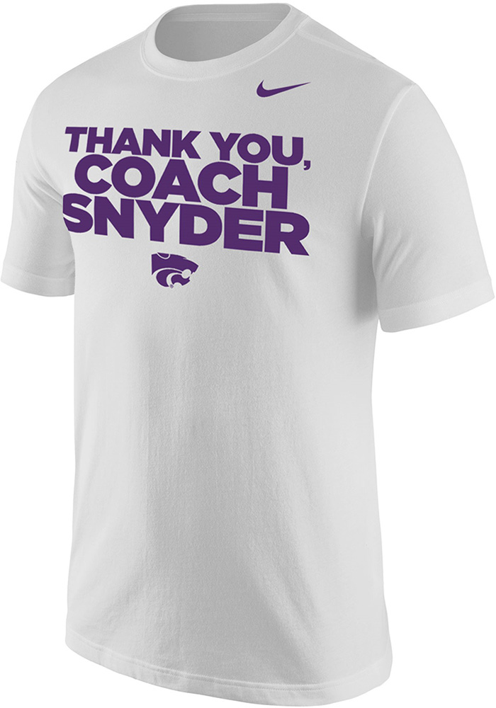 Nike K-State Wildcats White Thank You, Coach Snyder Short Sleeve T Shirt - Image 1