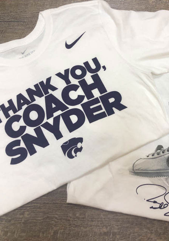Nike K-State Wildcats White Thank You, Coach Snyder Short Sleeve T Shirt - Image 3