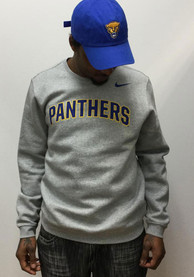 Pitt Panthers Nike Club Fleece Crew Sweatshirt - Grey
