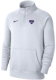 Nike SMU Mustangs White Club Fleece 1/4 Zip Pullover