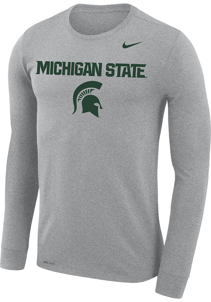 Nike Michigan State Spartans Grey Legend Arch Mascot Long Sleeve T-Shirt - Image 1