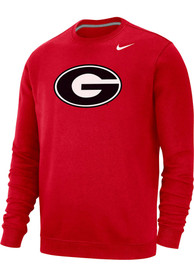 Georgia Bulldogs Nike Club Fleece Logo Crew Sweatshirt - Red