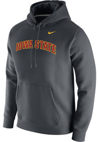 Iowa State Cyclones Nike Club Fleece Arch Name Hooded Sweatshirt - Grey