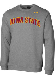 Iowa State Cyclones Nike Club Fleece Arch Name Crew Sweatshirt - Grey