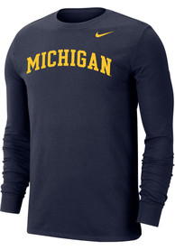 Michigan Wolverines Nike Dri-FIT Arch Name T Shirt - Navy Blue