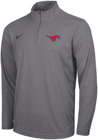 SMU Mustangs Nike Intensity Logo 1/4 Zip Pullover - Grey