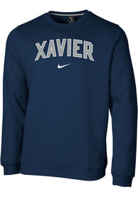 Xavier Musketeers Nike Club Fleece Crew Sweatshirt - Navy Blue