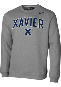 Xavier Musketeers Nike Club Fleece Crew Sweatshirt - Grey