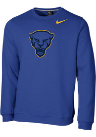 Pitt Panthers Nike Club Fleece Crew Sweatshirt - Blue