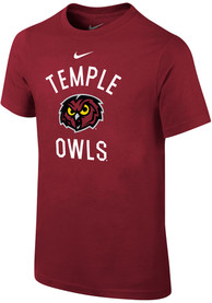 Temple Owls Youth Nike Arch Mascot T-Shirt - Crimson