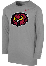 Temple Owls Youth Nike Primary Logo T-Shirt - Grey