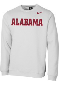 Alabama Crimson Tide Nike Club Fleece Wordmark Crew Sweatshirt - White