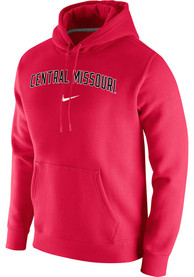Central Missouri Mules Nike Club Fleece Arch Name Hooded Sweatshirt - Red