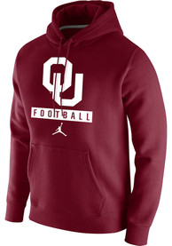 Oklahoma Sooners Nike Club Fleece Football Hooded Sweatshirt - Crimson