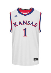 Adidas KU Jayhawks Mens White Replica Basketball Jersey