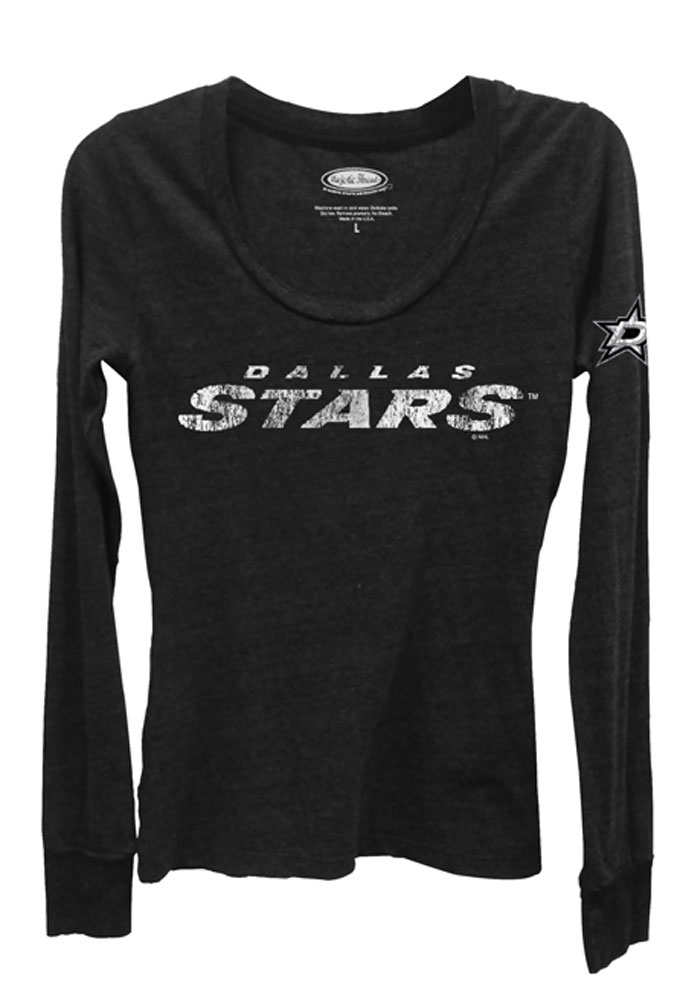 Dallas Stars Womens Black Primary Triblend Long Sleeve Scoop Neck - Image 1
