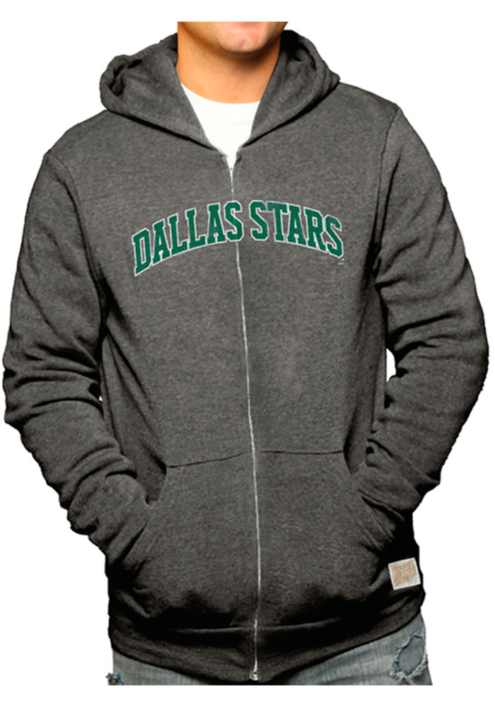 Original Retro Brand Dallas Stars Mens Black Wordmark Fleece Hooded Long Sleeve Zip Fashion - Image 1