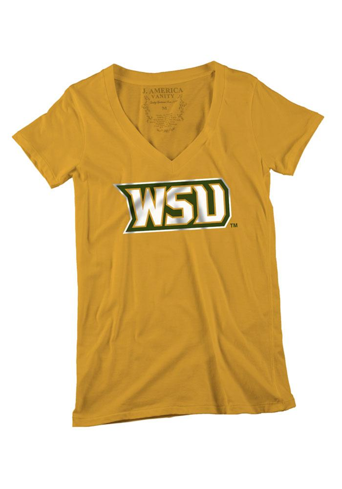 Wright State Raiders Womens Gold Shimmer Script V-Neck - Image 1